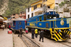 Trains en gare de Aguas Calientes